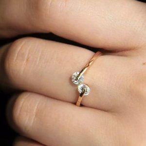 18K GP Rose Gold Double Diamond Open Ring New